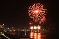 Fireworks. Pattaya international fireworks festival 2015 Stock Photography