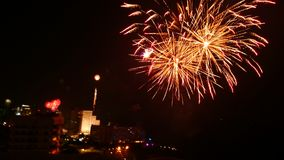 Fireworks at Pattaya with black background Royalty Free Stock Photography