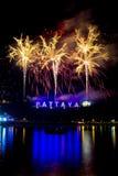 Fireworks at Pattaya, Thailand stock photography