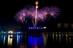 Fireworks at Pattaya, Thailand royalty free stock photography
