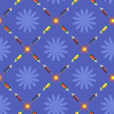 Fireworks pattern. Fireworks on a blue background. It can be used as a seamless texture Royalty Free Stock Photos