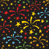 Fireworks pattern. Vector holidays seamless pattern with firework, sparkles and stars, multicolor background texture Royalty Free Stock Image