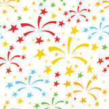 Fireworks pattern. Vector holidays seamless pattern with multicolor  firework, sparkles and stars isolated on white background Stock Photo