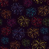 Fireworks pattern. Vector illustration. Fireworks. Seamless vector pattern on black background Royalty Free Stock Images