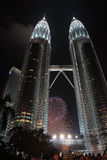 Fireworks at Petronas Stock Image