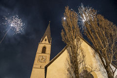 Fireworks in Pfunds, Austria Royalty Free Stock Photos