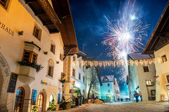 Fireworks in Pfunds, Austria Royalty Free Stock Images