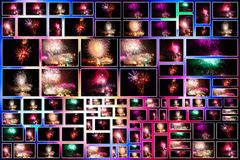 Fireworks pictures collage Royalty Free Stock Image