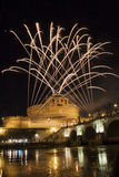 Fireworks playing over Castel Sant' Angelo, Rome, Italy Stock Image
