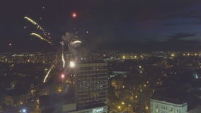 Fireworks in Plovdiv, Bulgaria captured with a drone stock video