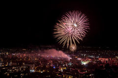 Fireworks in Plovdiv, Bulgaria Royalty Free Stock Photos