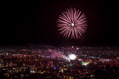 Fireworks in Plovdiv, Bulgaria Royalty Free Stock Photography