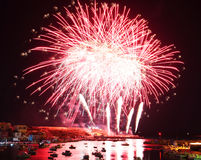 Fireworks in port of Lampedusa Stock Photo