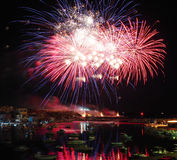 Fireworks in port of Lampedusa Royalty Free Stock Photo
