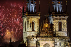 Fireworks in Prague behind Church of Our Lady before Tyn Stock Photos