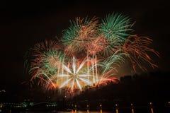 Fireworks in Prague Royalty Free Stock Photos