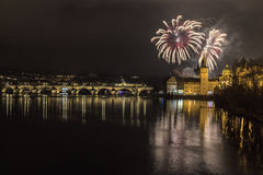 Fireworks in Prague. New Year fireworks in Prague Stock Images