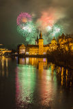 Fireworks in Prague. New Year fireworks in Prague Stock Photos