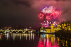 Fireworks in Prague. New Year fireworks in Prague Stock Image
