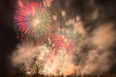 Fireworks in Prague Stock Photography