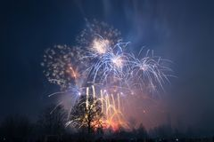 Fireworks In Prague, New Year 2018 Stock Image