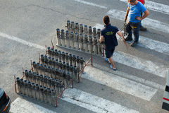Fireworks preparation for the day of St. Giovanni Battista Royalty Free Stock Photography