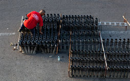 Fireworks preparation for the day of St. Giovanni Battista Royalty Free Stock Photo