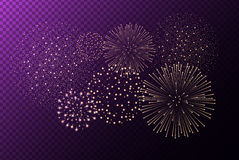 Fireworks  on purple transparent background. Independence day concept. Festive and holidays background. Vector illustration Royalty Free Stock Image