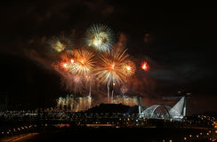Fireworks in Putrajaya. Fireworks are being displayed over Malaysia's landmark Seri Saujana Bridge in Putrajaya, Malaysia stock photos