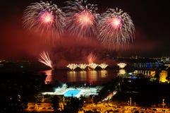 Fireworks at putrajaya stock photo