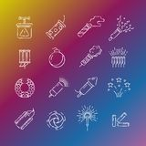 Fireworks, pyrotechnic icons. Fireworks, pyrotechnic chalk drawing icons on colorful background. Vector illustration Royalty Free Stock Images