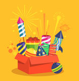 Fireworks and Pyrotechnics in Box on Yellow. Fireworks and Pyrotechnics in Box on Orange Background Royalty Free Stock Photo