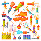 Fireworks pyrotechnics rocket and flapper birthday party gift celebrate seamless pattern vector illustration background Royalty Free Stock Images