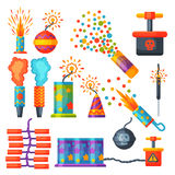 Fireworks pyrotechnics rocket and flapper birthday party gift celebrate vector illustration festival tools. Anniversary bright carnival celebrate fly-swatter Royalty Free Stock Images