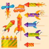 Fireworks pyrotechnics rocket and flapper birthday party gift celebrate vector illustration festival tools. Anniversary bright carnival celebrate fly-swatter Stock Image