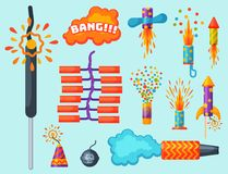 Fireworks pyrotechnics rocket and flapper birthday party gift celebrate vector illustration festival tools. Anniversary bright carnival celebrate fly-swatter Stock Photography