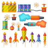 Fireworks pyrotechnics rocket and flapper birthday party gift celebrate vector illustration festival tools. Anniversary bright carnival celebrate fly-swatter Royalty Free Stock Photo