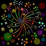 Fireworks, pyrotechnics rosette motif with multicolored stars on black background with blurry lights. Decoration for celebration,. Fireworks, pyrotechnic rosette Royalty Free Stock Photography