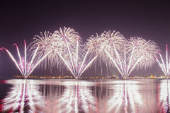 Fireworks. In Qatar National Day 2015 stock image