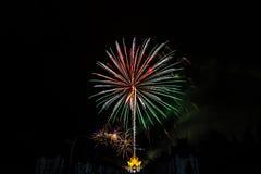 Fireworks at Rajapruek Royal Park Royalty Free Stock Images