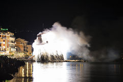Fireworks in Rapallo. One of the most important summer festivals in Liguria Royalty Free Stock Image