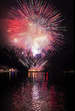 Fireworks in Rapallo. One of the most important summer festivals in Liguria Royalty Free Stock Photo