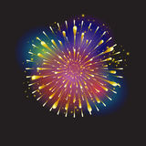 Fireworks. Realistic Bright Fireworks, Star burst elements isolated on night background. For celebrate Independence American Holiday, Memorial day, Labor Day stock illustration