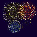 Fireworks. Realistic bright Fireworks, Star burst elements isolated on night background. For celebrate Independence American Holiday, Memorial day, Labor Day Royalty Free Stock Photos
