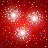 Fireworks on a red background.  Royalty Free Stock Photography