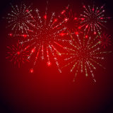 Fireworks on red background. Shiny stars and fireworks on red background, illustration Royalty Free Stock Images