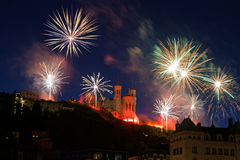 Fireworks on a red basilica Royalty Free Stock Images