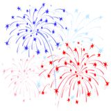 Fireworks red and blue. Vector colorful fireworks in honor of Independence  on white background Stock Photos