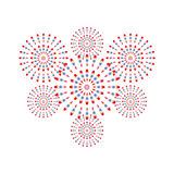 Fireworks red and blue on white background. Beautiful design for New Year, anniversary celebration and festival Stock Image