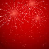 Fireworks on red shiny background. Shiny fireworks on red starry background, illustration Royalty Free Stock Images